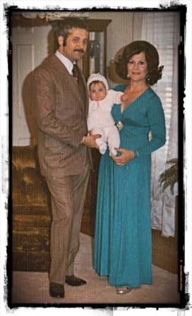"My Christening and mom wearing ""the"" dress."