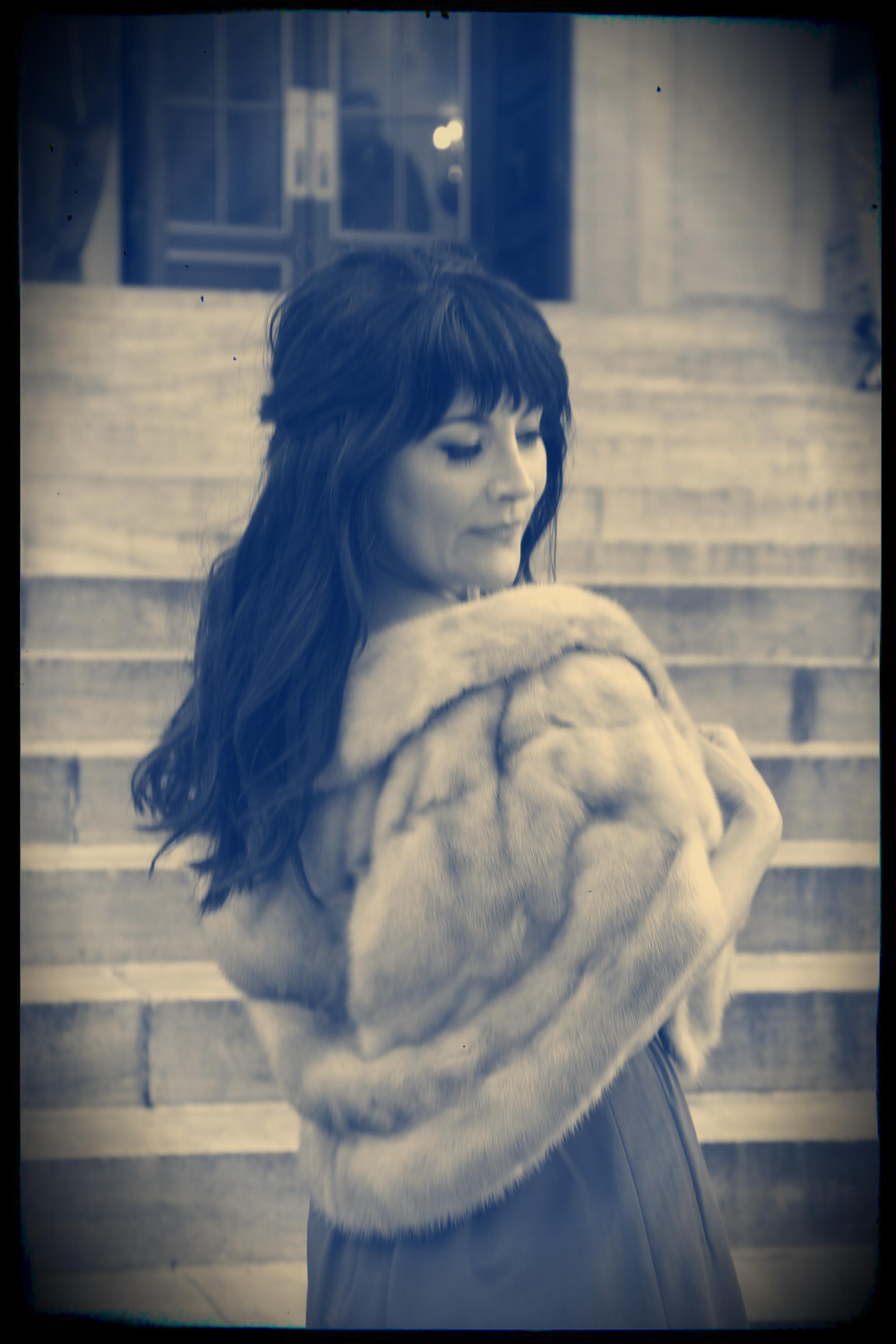 Lifestyle Blogger Christina Carathanassis, channeling Ava Gardner in my $25 vintage blonde mink