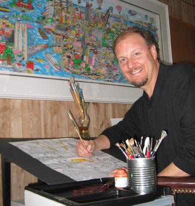 Charles Fazzino, creating another pop-art masterpiece in his studio